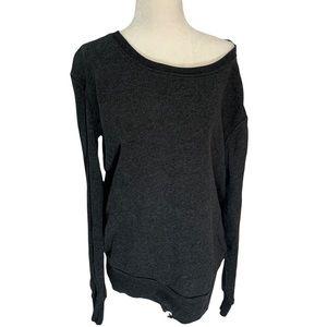 Aritzia Community Grey Long Sleeve Top Off Shoulder Boxy Fit XXS